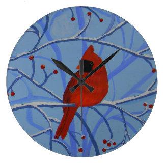 Horloge murale gaie de cardinal de coeur