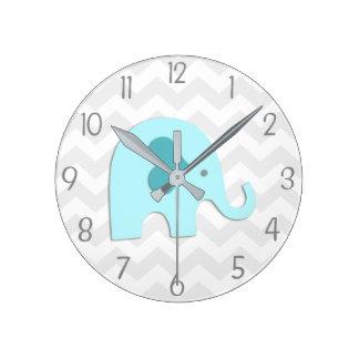 Horloge murale grise de crèche d'éléphant d'Aqua