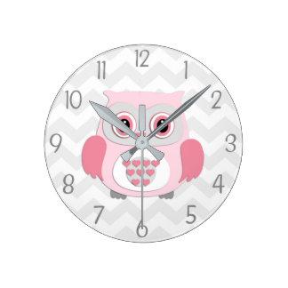 Horloge murale grise rose de hibou