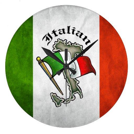 horloge murale italienne italie de drapeau zazzle. Black Bedroom Furniture Sets. Home Design Ideas