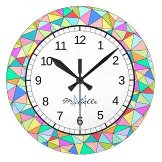 Horloge murale lumineuse colorée de Geomertic de