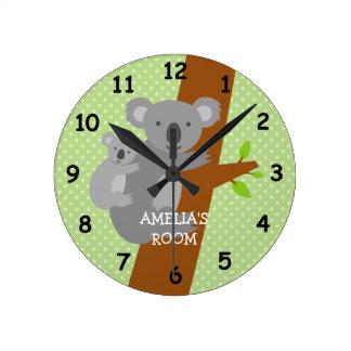 Horloge murale mignonne de crèche de pois d'ours