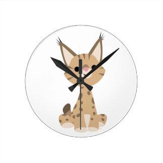Horloge murale mignonne de Lynx de bande dessinée