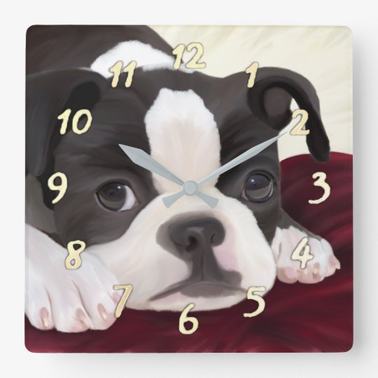 Horloge murale mignonne de terrier de Boston