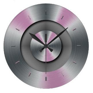 Horloge murale moderne élégante de lueur en métal
