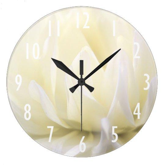 Horloge murale molle de fleur blanche - Grande horloge murale blanche ...