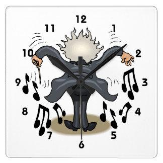 Horloge murale musicale drôle de carré de conducte