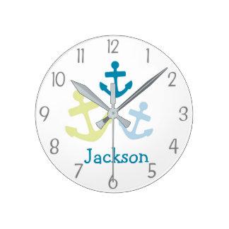 Horloge murale nautique de crèche d'ancres