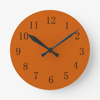 Horloge murale orange brûlée de cuisine de ton de