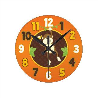 Horloge murale orange de singe de safari de jungle
