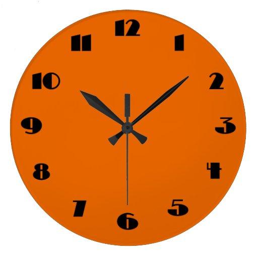 horloge murale orange et noire moderne zazzle. Black Bedroom Furniture Sets. Home Design Ideas