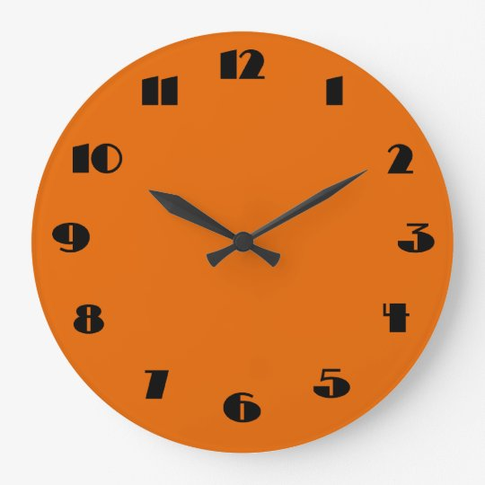 horloge murale orange et noire moderne. Black Bedroom Furniture Sets. Home Design Ideas