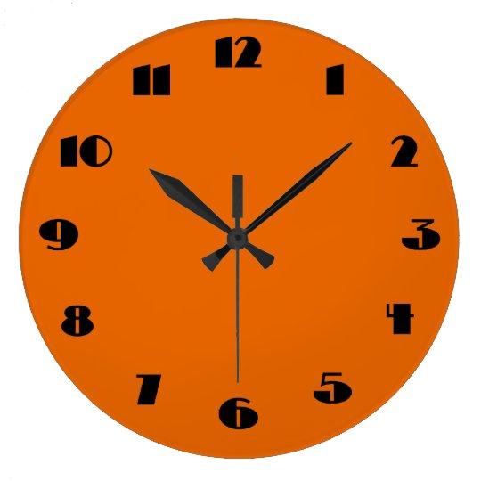 horloge murale orange et noire moderne. Black Bedroom Furniture Sets. Home Design Ideas