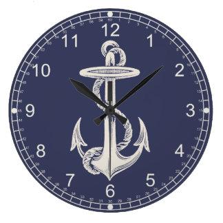 Horloge murale orientée nautique d'ancre