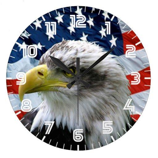 Horloge murale patriotique de drapeau américain d'