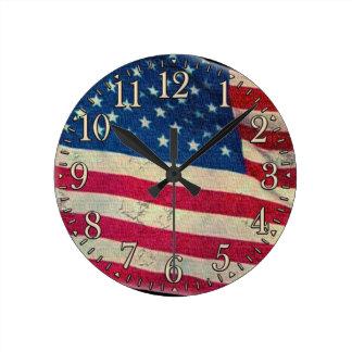 Horloge murale patriotique fière de drapeau des US