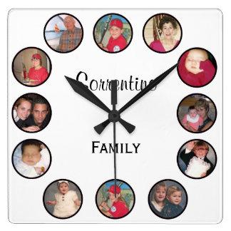 Horloge murale personnalisée de carré de photo