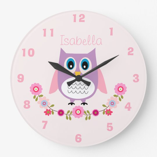 horloge murale personnalis e de hibou de cr che. Black Bedroom Furniture Sets. Home Design Ideas