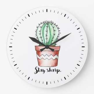 Horloge murale pointue de cactus de séjour