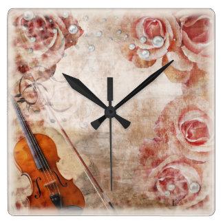 Horloge murale romantique de violon