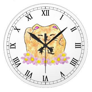 Horloge murale ronde chanceuse de chat (Maneki