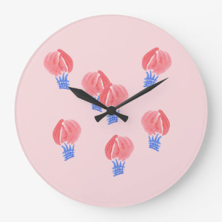 Horloge murale ronde de ballons à air grande