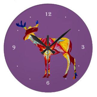 Horloge murale ronde de cerfs communs colorés