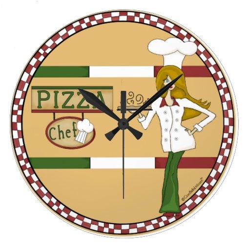 Horloge murale ronde de chef de pizza