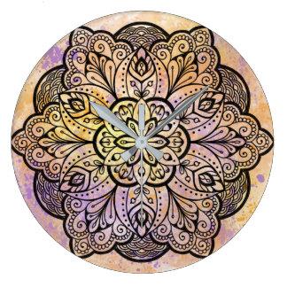Horloge murale ronde de mandala