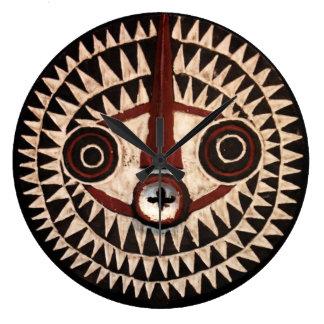 Horloge murale ronde de masque africain - décor