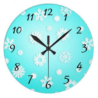 Horloge murale ronde de motif de flocon de neige