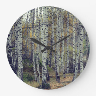 Horloge murale ronde de photo d'automne de Forrest