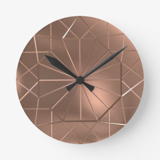 Horloge murale ronde d'octogone de câblage cuivre
