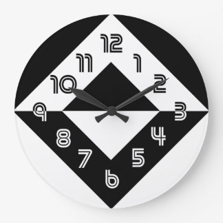 Horloge murale ronde moderne noire et blanche