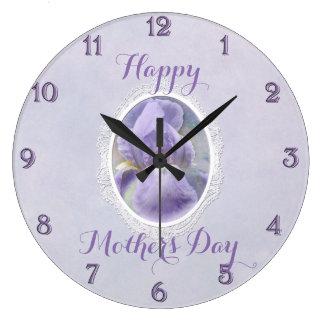 Horloge murale ronde pourpre en pastel du jour de