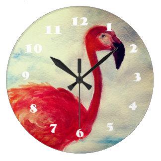 Horloge murale rose d'aquarelle de flamant