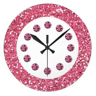 Horloge murale rose de Bling de bijou