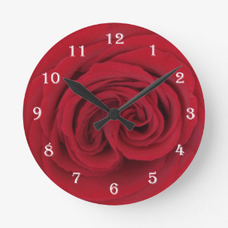 Horloge murale rose de fleur -- Rose rouge