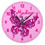 Horloge murale rose de nom de pièce de filles de p
