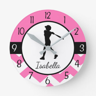 Horloge murale rose du base-ball