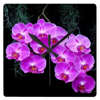 Horloge murale Rosée-Embrassée d orchidées