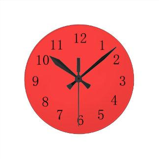 Horloge murale rouge de corail lumineuse de