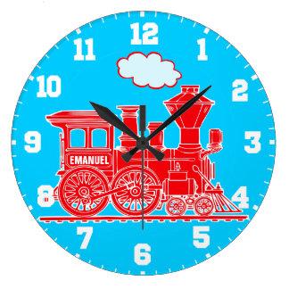 Horloge murale rouge et bleue de train de nom d'en