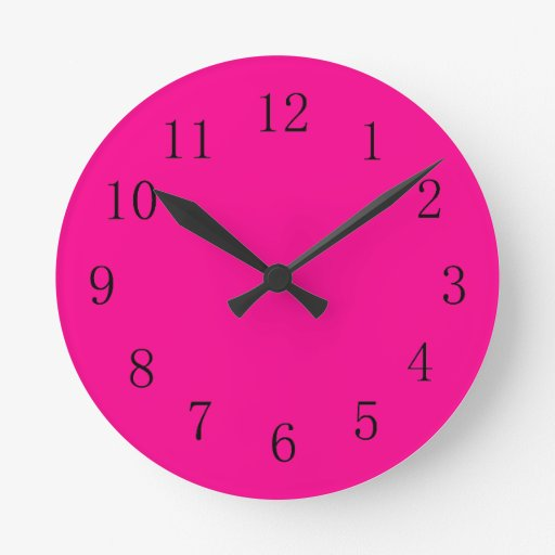 Horloge murale rouge magenta de cuisine zazzle - Horloge murale cuisine rouge ...