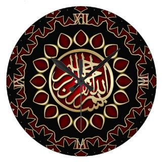 Horloge murale rouge rouge de calligraphie de Bism