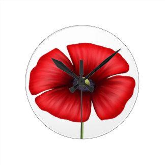 Horloge murale rouge simple de pavot