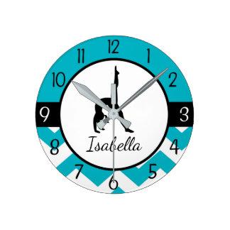 Horloge murale turquoise de gymnastique