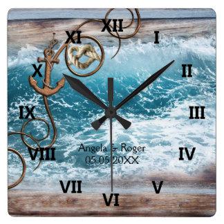 Horloge nautique de mariage d'ancre