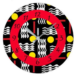 Horloge noire, rouge et blanche abstraite