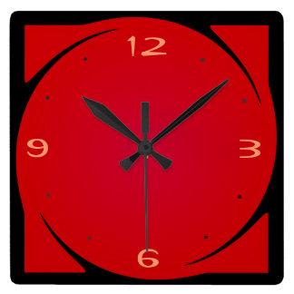 Horloge noire rouge minimaliste de Design>Kitchen
